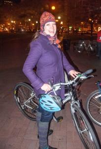 Posing at the Boston Bike Party