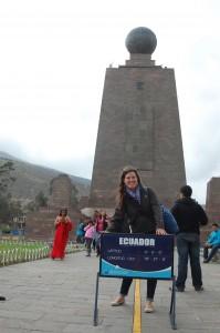 Posing at Mitad del Mundo, Ecuador